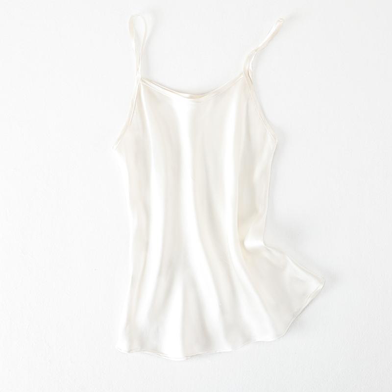 珍珠真丝打底好背心桑蚕丝面料纯色修身吊带素绉缎白色衫女