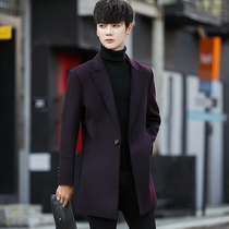 Double-sided coat mens long section of autumn and winter new Korean slim wool