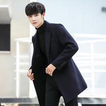 Double-sided coat male long section of the Korean version of the handsome trend of self-cultivation wool