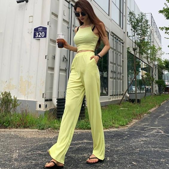 海外韩国东吊带代购套装2019夏季新款长裤女装阔腿背心大门时尚女