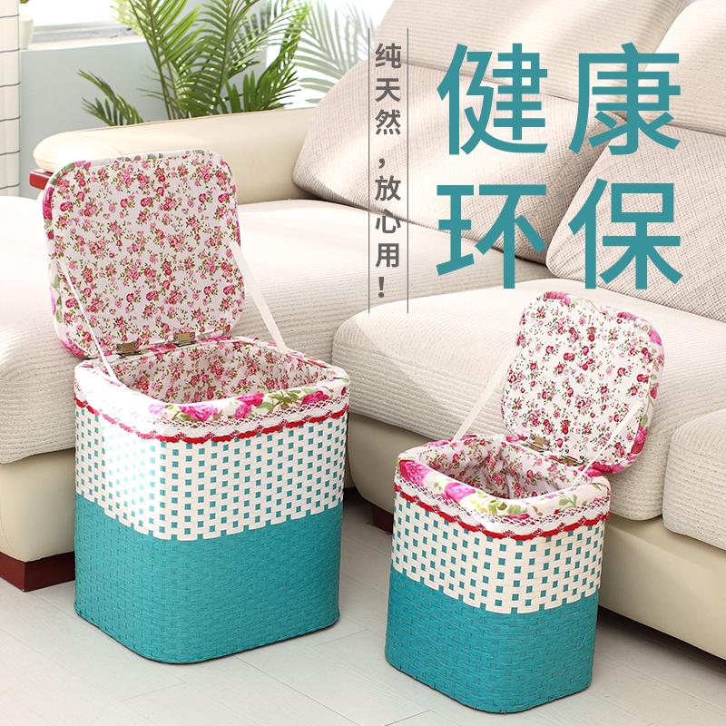 手工编织收纳凳子储物箱超火小沙发凳换鞋凳穿鞋凳时尚实木可坐凳