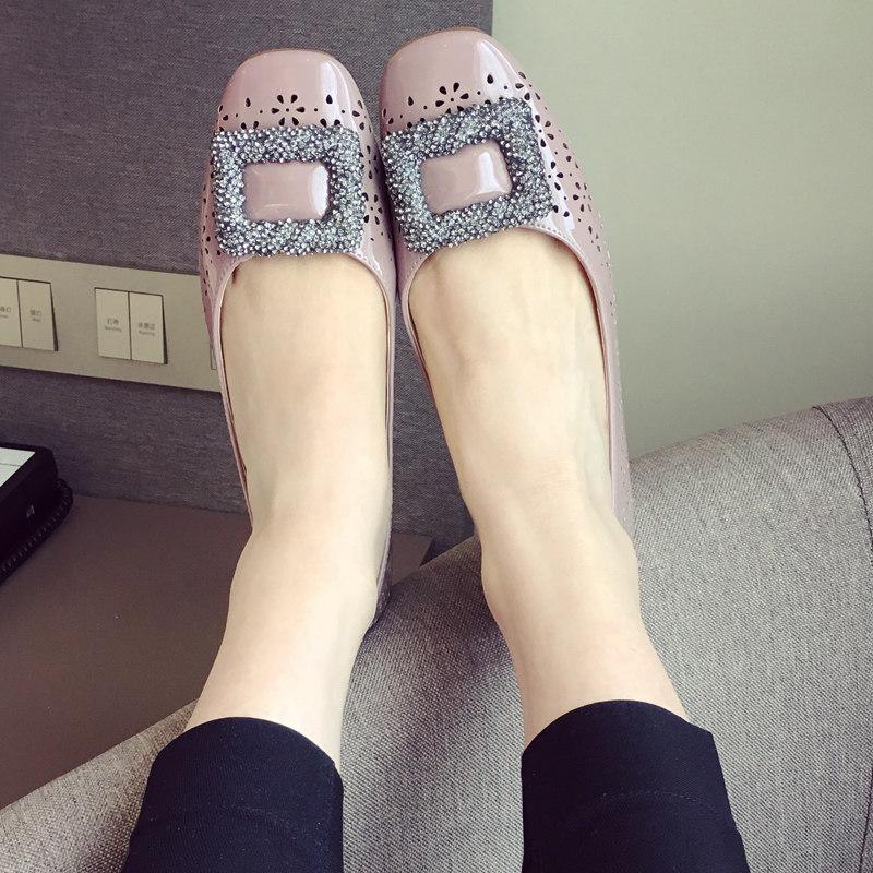 2016夏季新款方扣水钻平底单鞋豆豆鞋欧美潮女平跟鞋瓢鞋孕妇鞋女