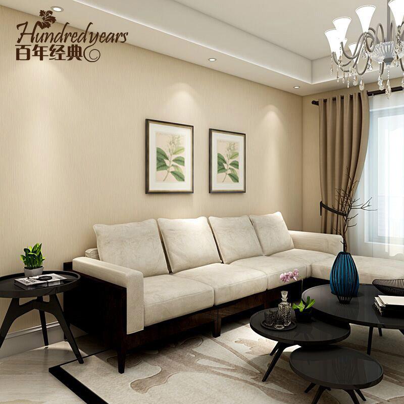 百年经典北欧竖客厅墙纸现代简约素色卧室环保无纺布壁纸条纹满铺