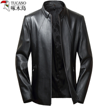 Woodpecker leather jacket mens slim leather jacket Europe and the United States simple repair