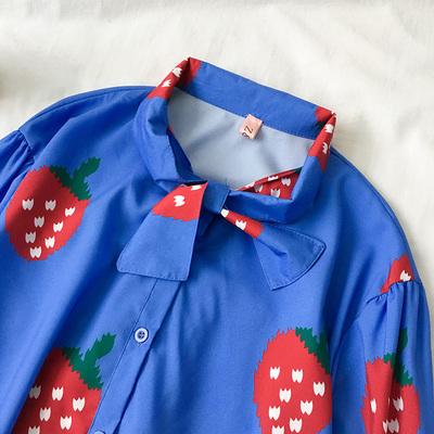 不规则长袖宽松衬衫初春季2019新款女装韩版百搭绑带草莓印花上衣