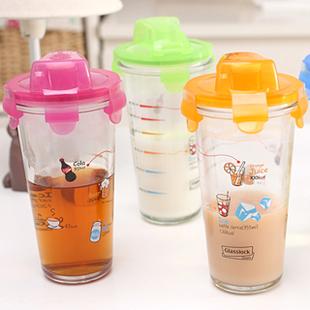 加厚便携透明玻璃杯乐扣儿童刻度牛奶杯带盖水杯 花茶杯子果汁杯