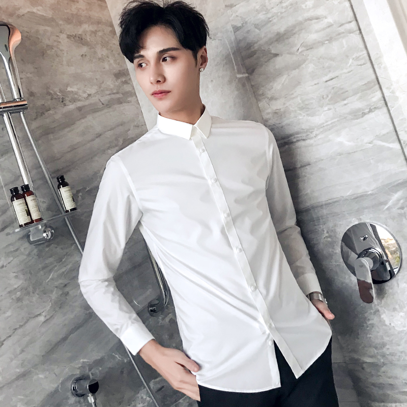 9704c7fb28e20 Men's long-sleeved casual shirt male Slim Korean version of the trend  handsome net red male business dress hair stylist tide shirt