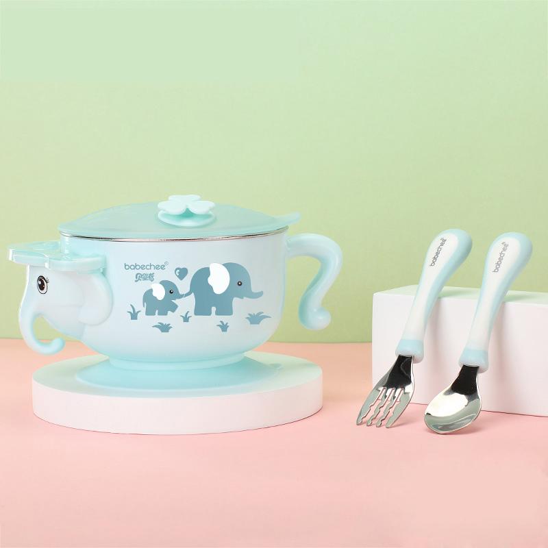 贝婴奇注水保温碗婴儿不锈钢吸盘碗