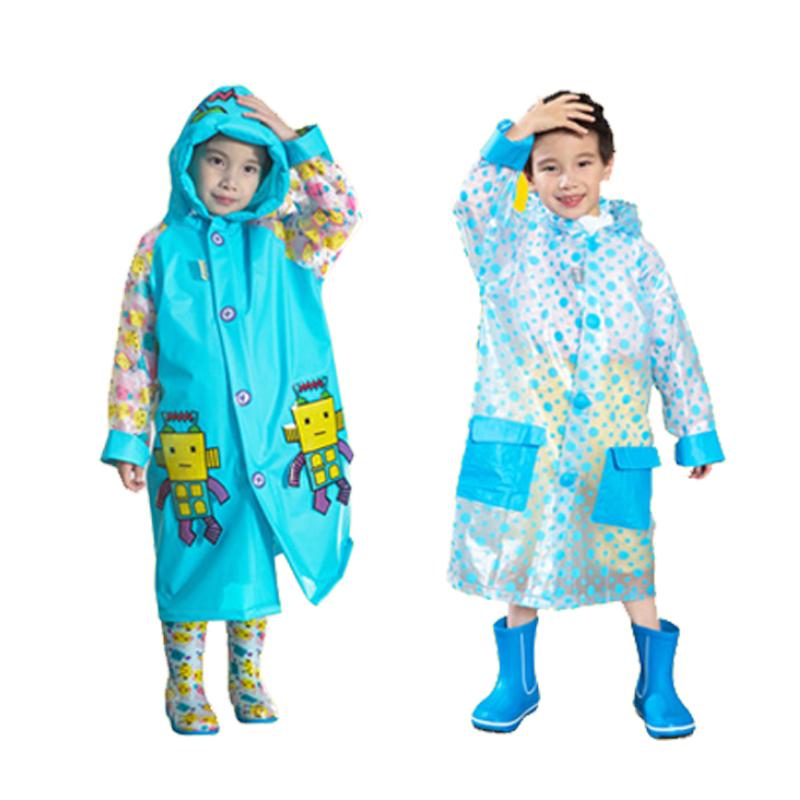 蓝蚂蚁带书包位儿童雨衣幼儿园雨披
