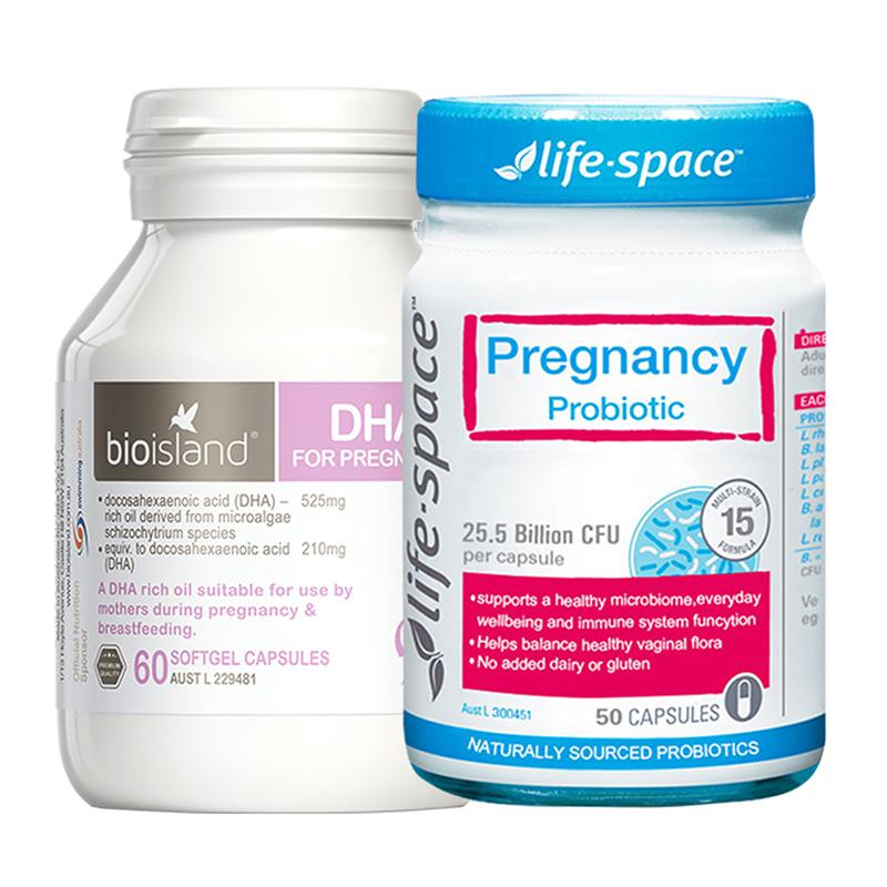 澳洲life space孕妇孕期益生菌便秘+bio ialsnd孕妇专用dha备孕