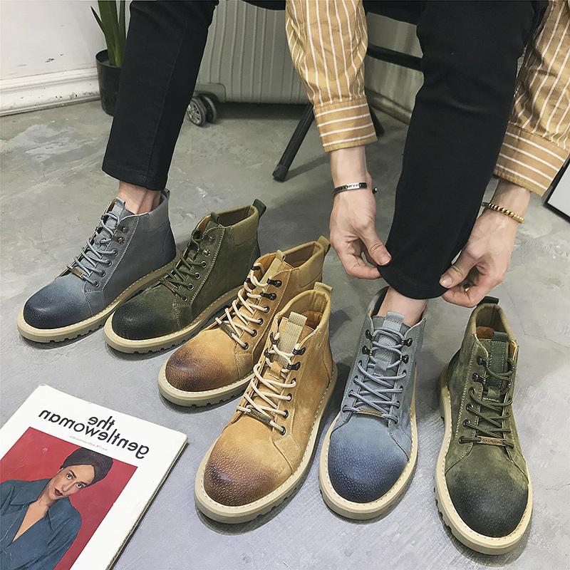 Мужской ботинки весна мужчина ботинок корейская волна струиться дикий высокий масса обувь повышать очередь фур помощь мартин сапоги