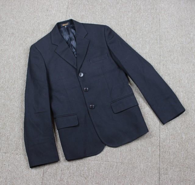 韩国原单 男士商务薄款二粒扣黑色羊毛西服西装 职业装外套 春夏