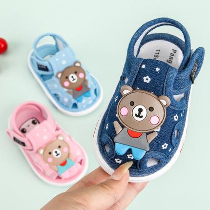 宝宝凉鞋0-2岁男女婴儿鞋夏布鞋软底防滑宝宝鞋子1-3学步鞋叫叫鞋
