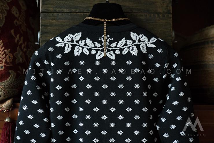 黑白 立体浮雕针织提花套装女 开衫+半裙 - 壹一 - 壹一编织博客