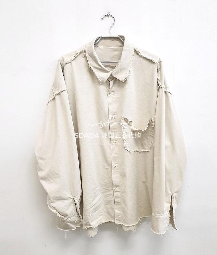 日韓代購~韓國代購20SS REWORK DAMAGE SHIRTS 重置破邊長袖襯衫
