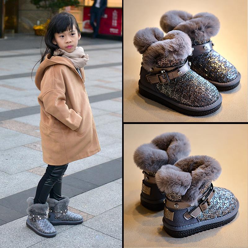 2017 зима ребенок снег сапоги корейский кролик плюс кашемир мужчина ребенок мокасины теплый ботинки волна дикий девочки ботинки