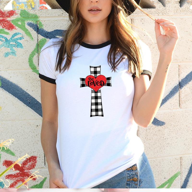 耶穌十字架圖形T恤女黑領基督教宗教印花T恤Tumblr衣服上衣Femme