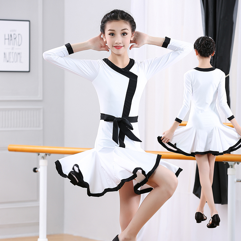 Girls Latin Dance Dresses Latin Dance Dresses Children's Gongfu Medium and Long Sleeve Latin Dance Skirt Competition Regulations for Girls'Performing Dresses