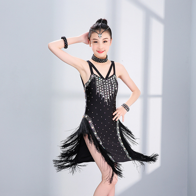 Girls Latin Dance Dresses Sexy and self-cultivating Latin Dance Costume sleeveless drill sling with tassels for Latin dance performance