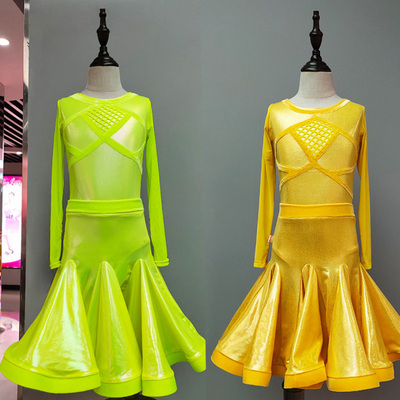 Girls Latin Dance Dresses Latin Dance Competition Provides Girls'Divided Button Show Clothes for Professional Art Examination, Dance Clothes
