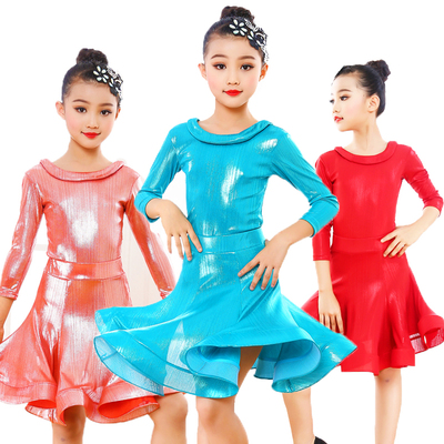Girls Latin Dance Dresses Latin Dance Performance Requirements for Professional Art Examination Standard Exercises in Sleeve Bright Face Long Dance Skirt