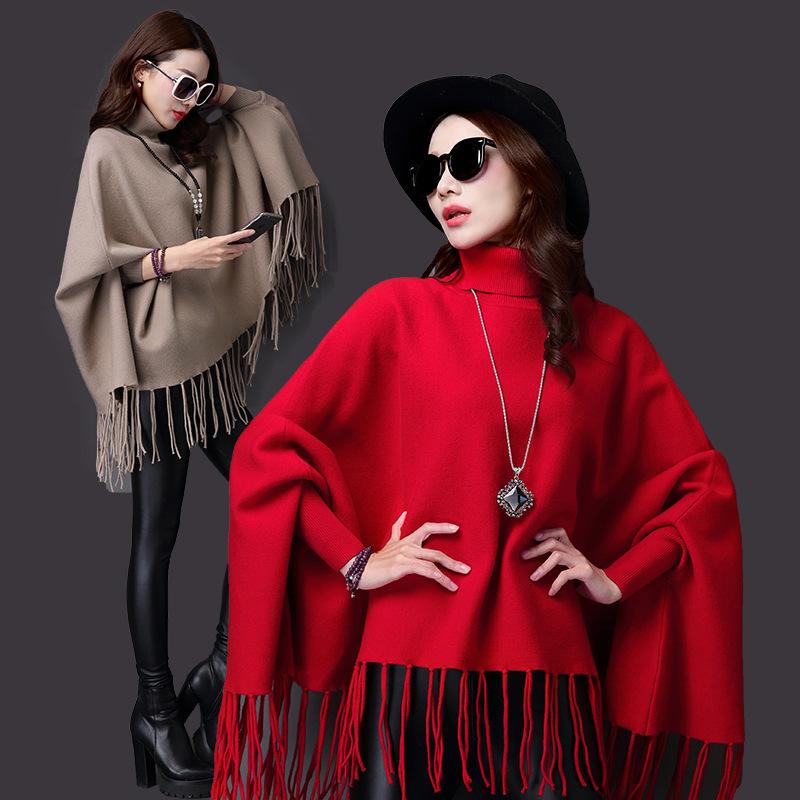 秋冬新款女装双面毛呢貂绒大衣针织衫蝙蝠披肩流苏斗篷毛衣外套女