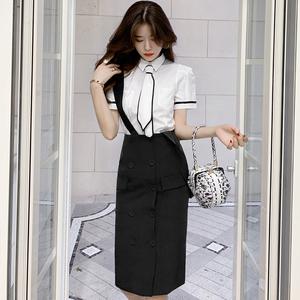 FS21599# 夏装新款网红ins风时尚百搭气质领带款短袖白衬衫女