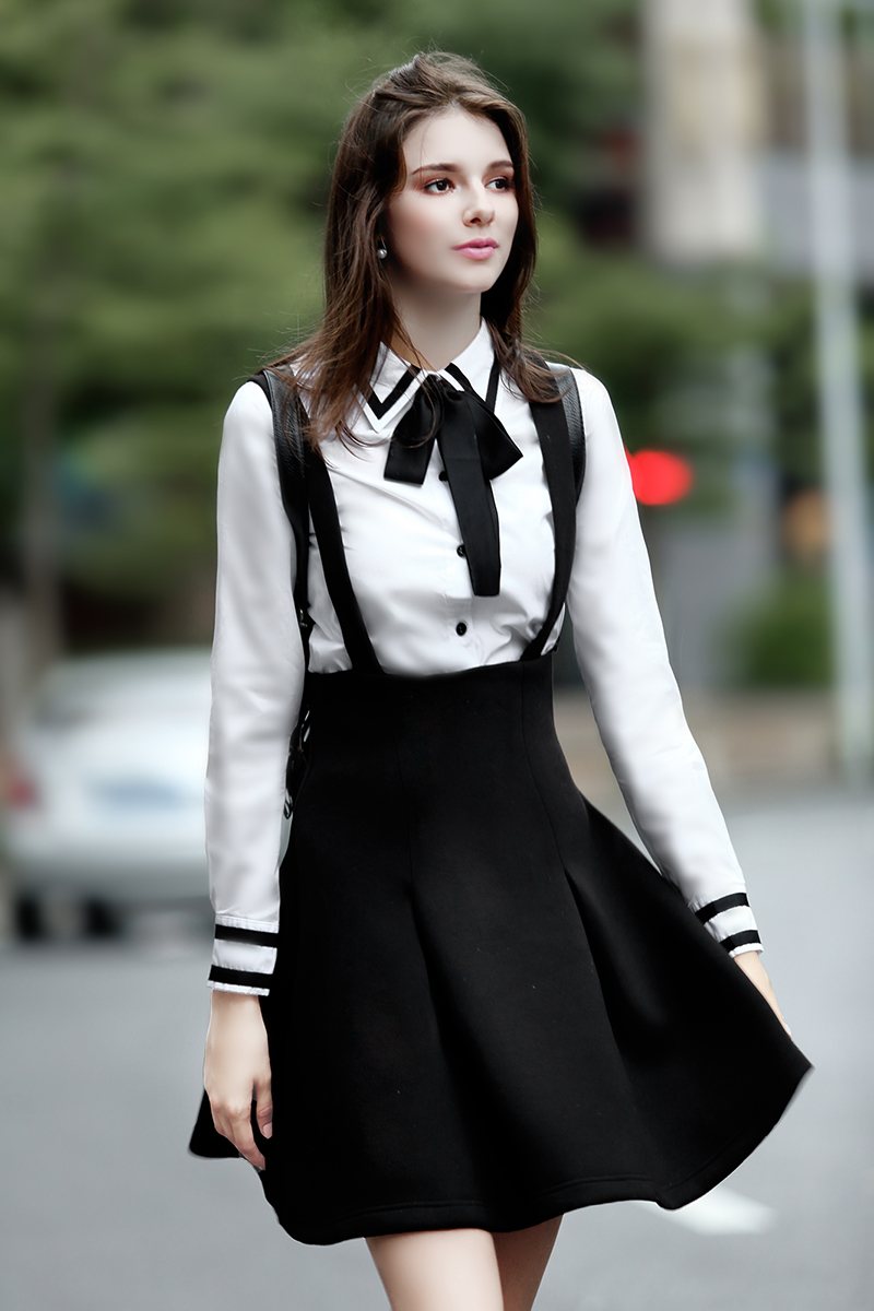 Fashion women bow collar splice color long sleeve white for Women s button down shirts extra long