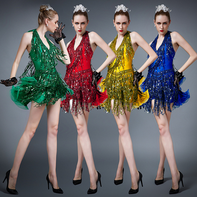 Adult Latin Dance Skirt High Quality Sequins Competition Dress Female tassel Skirt