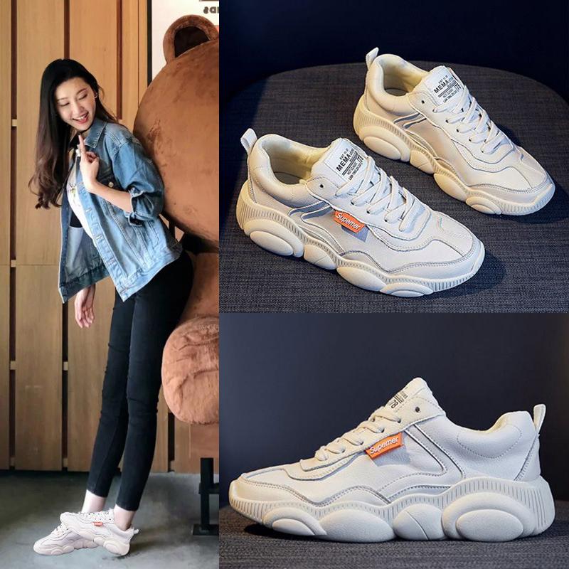 2019 mùa xuân mới đế gấu giày nhỏ màu trắng nữ da tất cả phù hợp với giày cũ giày thể thao đế bằng lưới màu đỏ - Giày cắt thấp