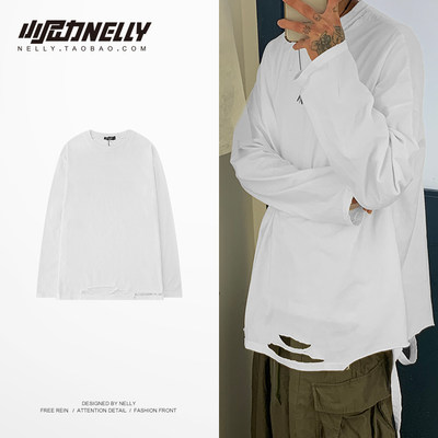 INS2020 spring and autumn long-sleeved bottoming shirt men and women loose bottoming shirt cotton white brook t-shirt