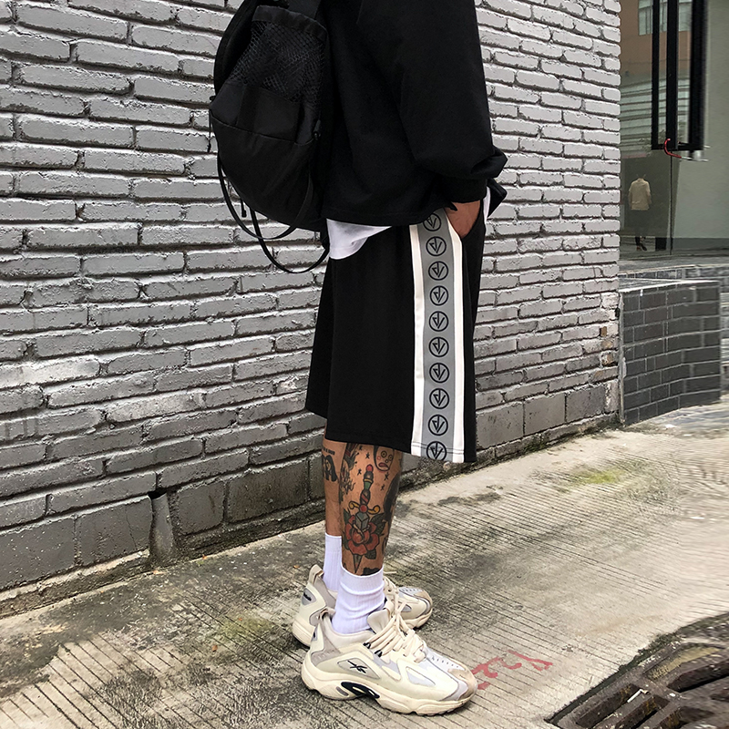 High street hip-hop reflective sports string shorts men's tide summer boys loose five-point pants basketball pants pants bwind