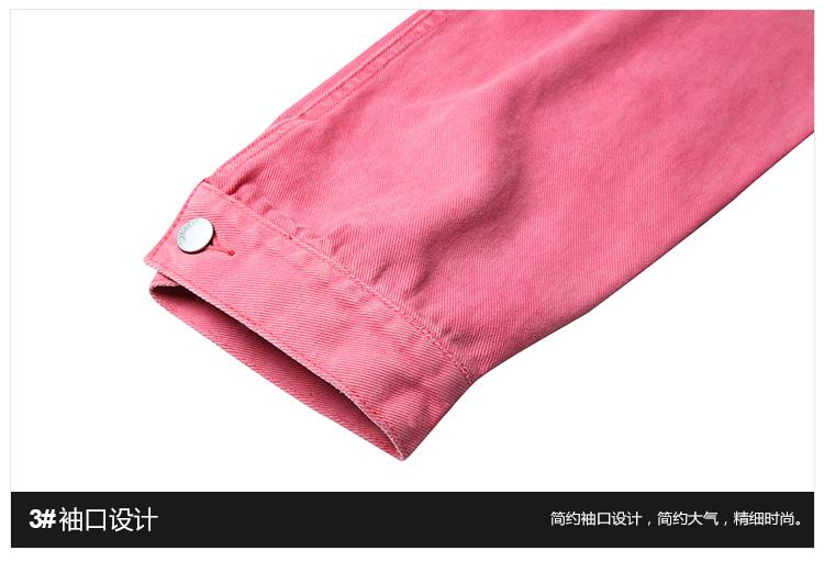Quốc gia triều hip hop 18FW hồng denim nặng rửa rắn màu denim áo khoác nam giới và phụ nữ casual loose coat