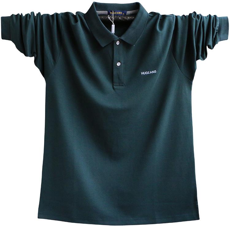 春装新款特大码衬衫领纯棉肥佬T恤POLO男士加肥加大宽松长袖体恤