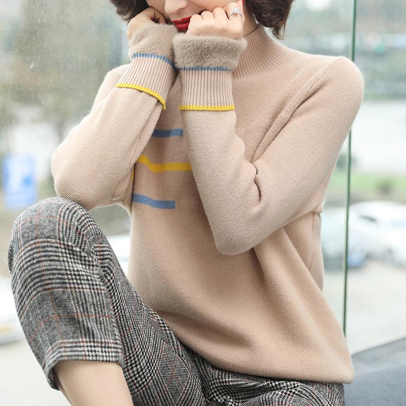 加绒a毛衣毛衣女打底绒加肥加大码胖MM200斤一体半高领加厚短款衫