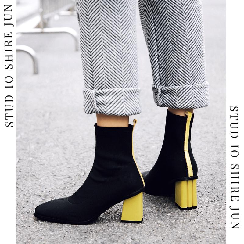 粗跟短靴女韩版真皮鞋秋冬袜靴高跟鞋瘦瘦靴网红马丁靴弹力靴新款