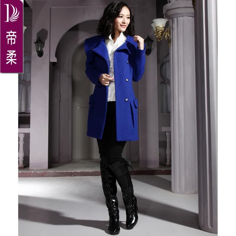 2013秋冬款女装新款专柜正品毛韩版带帽呢外套宽松呢子大衣大码