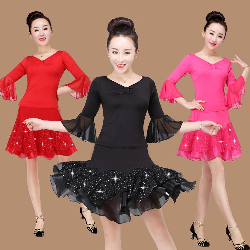 gcw套装舞广场新款喇叭春夏拉丁舞表演出服亮片服装上衣袖短裙女