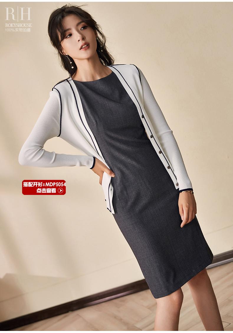 Luo Yi Xia trí tuệ mới OL váy Slim gói hip màu xám không tay đi lại ăn mặc tính khí 8371