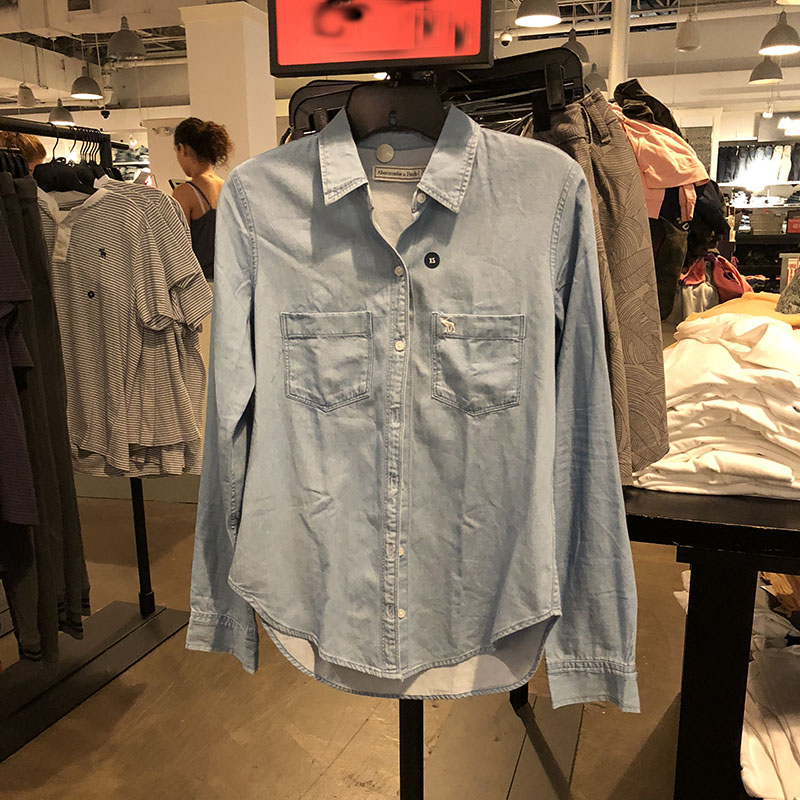 纽约大宝AbercrombieFitch/AF纯色秋季新款衬衫牛仔标小鹿女士