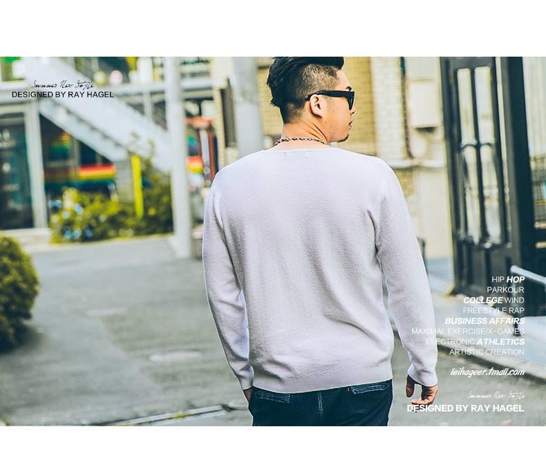 Rehagel thủy triều chất béo kích thước lớn áo len nam phòng ngừa cộng với chất béo cộng với kích thước áo len nam cổ chữ V cơ sở lỏng lẻo - Kéo qua