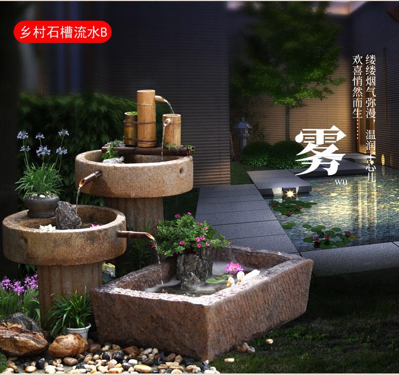 中式庭院石槽流水摆件假山喷泉景观阳臺鱼池造景花园鱼缸装饰详细照片