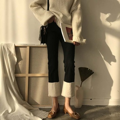 2017 autumn and winter women's Korean loose students wild lamb fur flanging high waist was thin nine points straight jeans