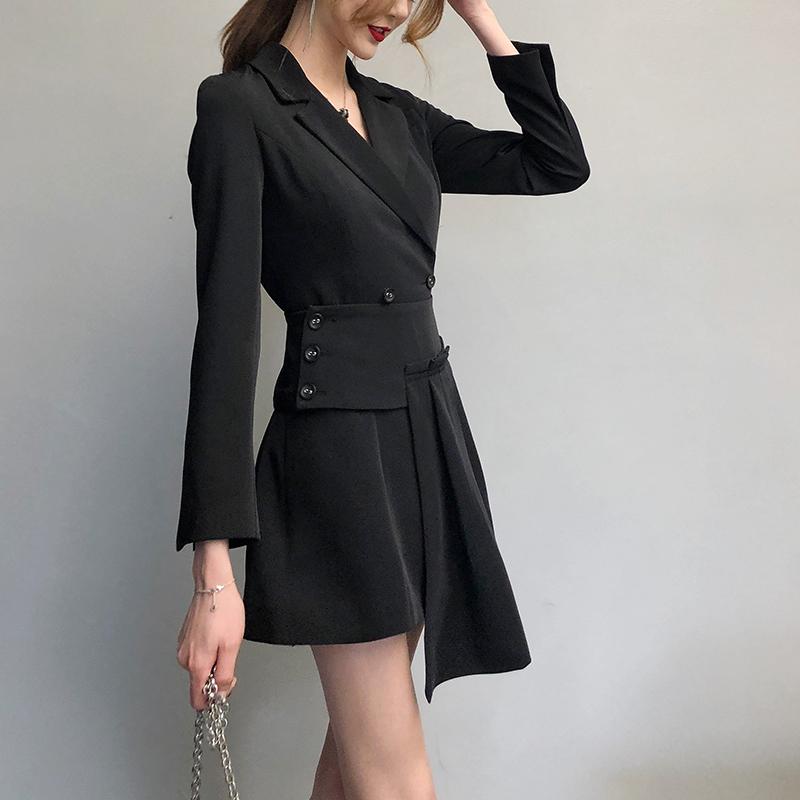 慕菲家2019秋冬新款女装韩版名媛风时尚黑色显瘦西装套装两件套潮
