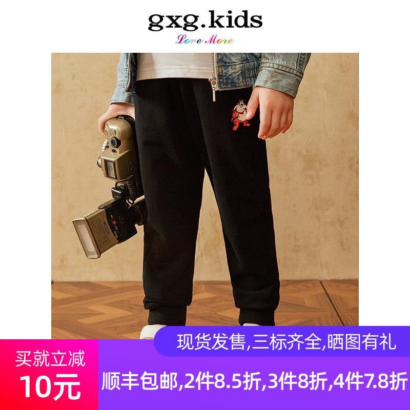 gxgkids弹力19春款男童童装黑色裤子v弹力长裤卡通儿童KY102666102666A