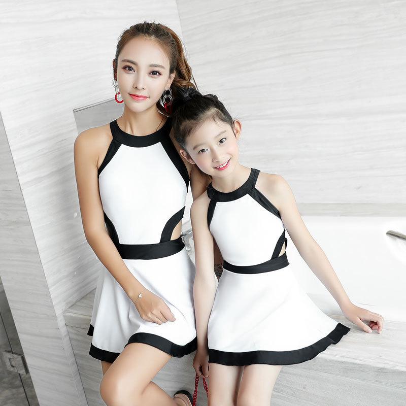 Отцовство семья плавать одежда мать и дочь сиамский юбка страхование охрана девочки спа корея милый ребенок новый плавание наряд