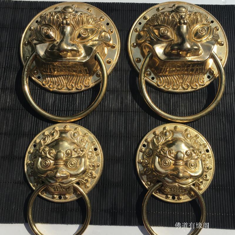 纯铜玻璃门仿古拉手中式大门兽头门扣环纯铜门环拉手大门面一对