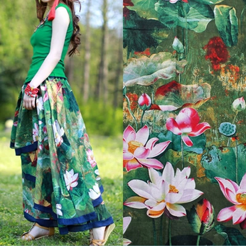 Usd 600 Cotton And Linen Lotus Flower Lotus Dress Fabric Oil