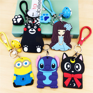 Cartoon hanging neck certificate work card card holder soft silicone student school card work card access control bus card holder with lanyard