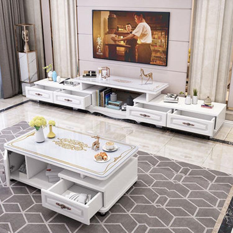 现代简约小户型�电视柜茶几组合客厅伸缩欧式钢化∑玻璃电视机柜